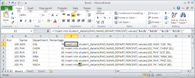 INSERT QUERY IN EXCEL