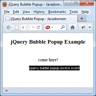 jQuery Bubble Popup onclick event sample program - NgDeveloper