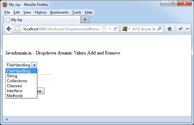 dropdown after value added