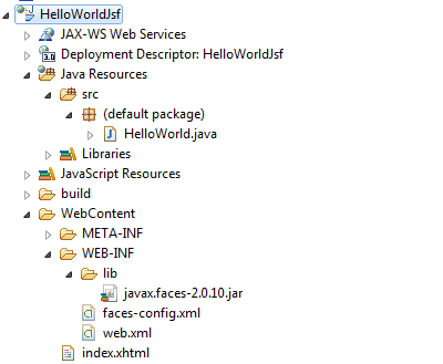 jsf hello world structure