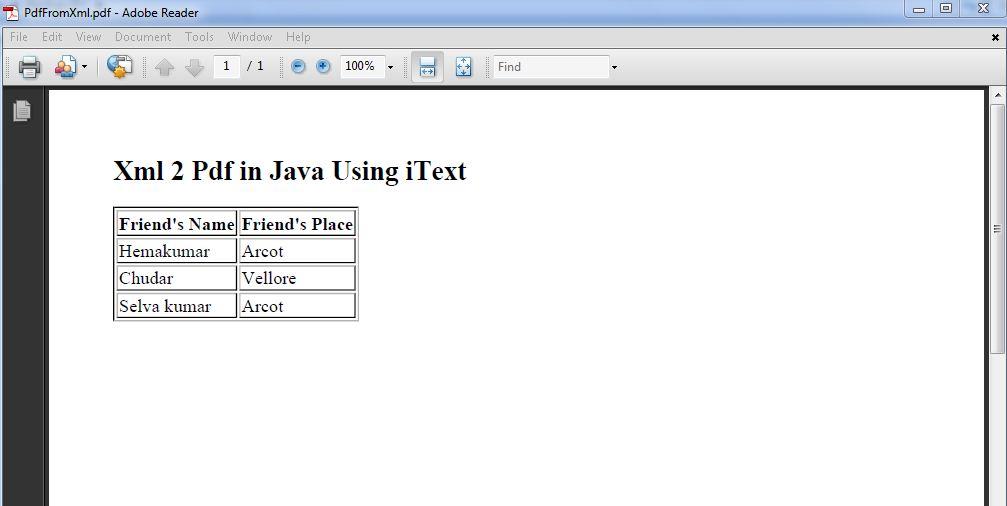 xml to pdf in java code