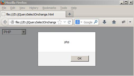 jQuery select onchange Example