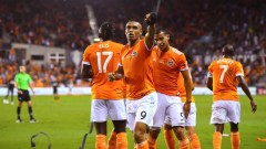 Dynamo Forward Manotas celebrating a goal during the U.S. Open Cup series