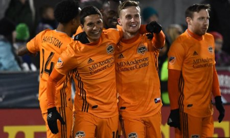 Dynamo players celebrate as the team won 2-1 against the Earthquakes