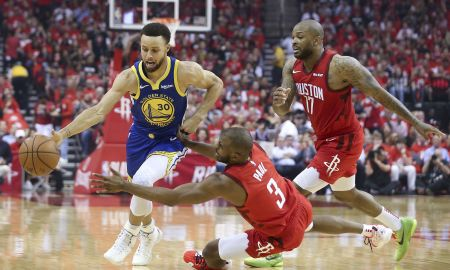 CP3 and P.J. Tucker of the Rockets defend Warriors guard Stephen Curry