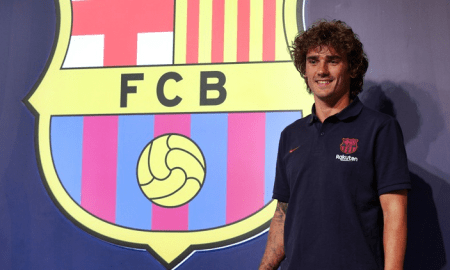 French star Griezmann poses after he finally got his transfer to FC Barcelona