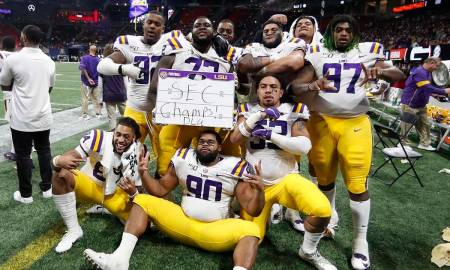 CFP: The LSU Tigers celebrate their SEC Championship