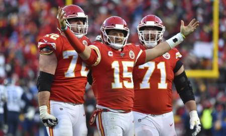 NFL: Mahomes celebrates a score as the Cheifs came back to win