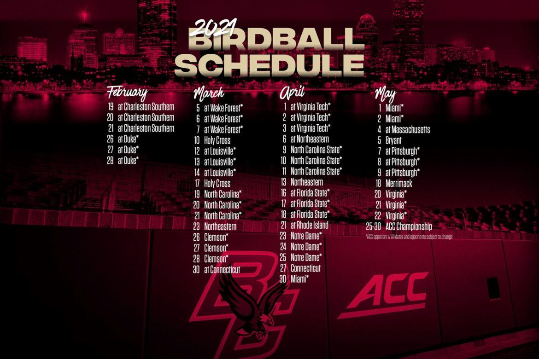 Boston College Reveals 50-Game Baseball Schedule