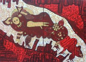 Amorous Pigs, acrylic painting by Nguyen Thi Mai