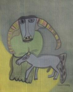 Buffalo & Horse, a silk painting by Nguyen Thi Mai