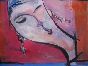 Carefree, an acrylic painting by Nguyen Thi Mai