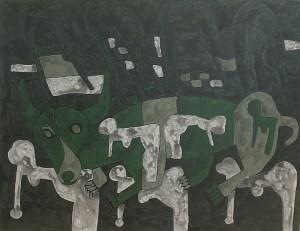 Dog's World, acrylic painting by Nguyen Thi Mai