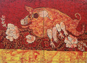 Fire Pig, acrylic painting by Nguyen Thi Mai