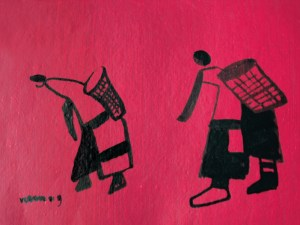 Picking Cotton, an ink on paper drawing by Nguyen Thi Mai