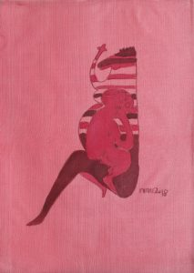 Pregnant 03, silk painting by Nguyen Thi Mai