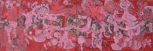 Tết Celebration, acrylic painting by Nguyen Thi Mai