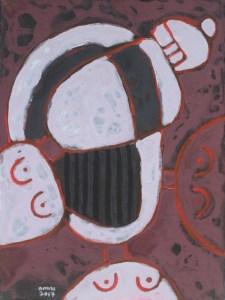 Three Wise Monkeys 14, an acrylic painting by Nguyen Thi Mai