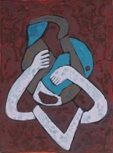 Three Wise Monkeys 29, an acrylic painting by Nguyen Thi Mai