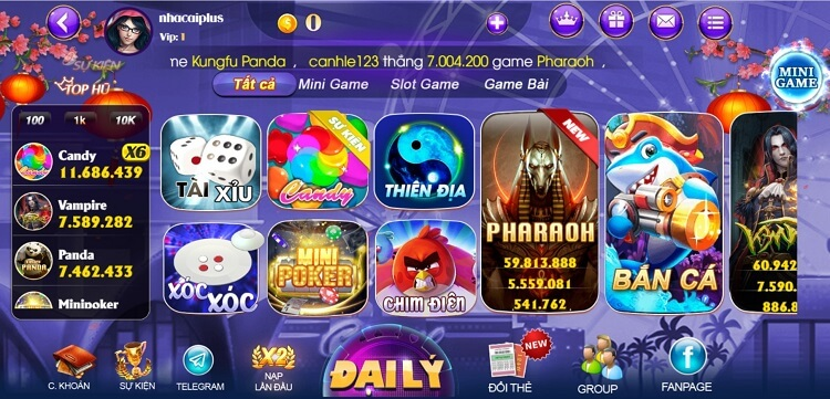 Giao diện cổng game soc vip