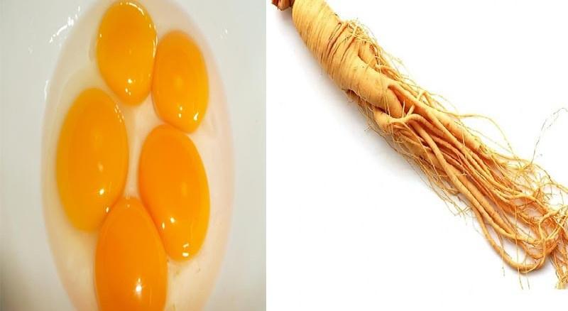 nhân sâm hấp trứng gà