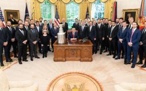 St. Louis Blues no Salão Oval em sua visita à Casa Branca