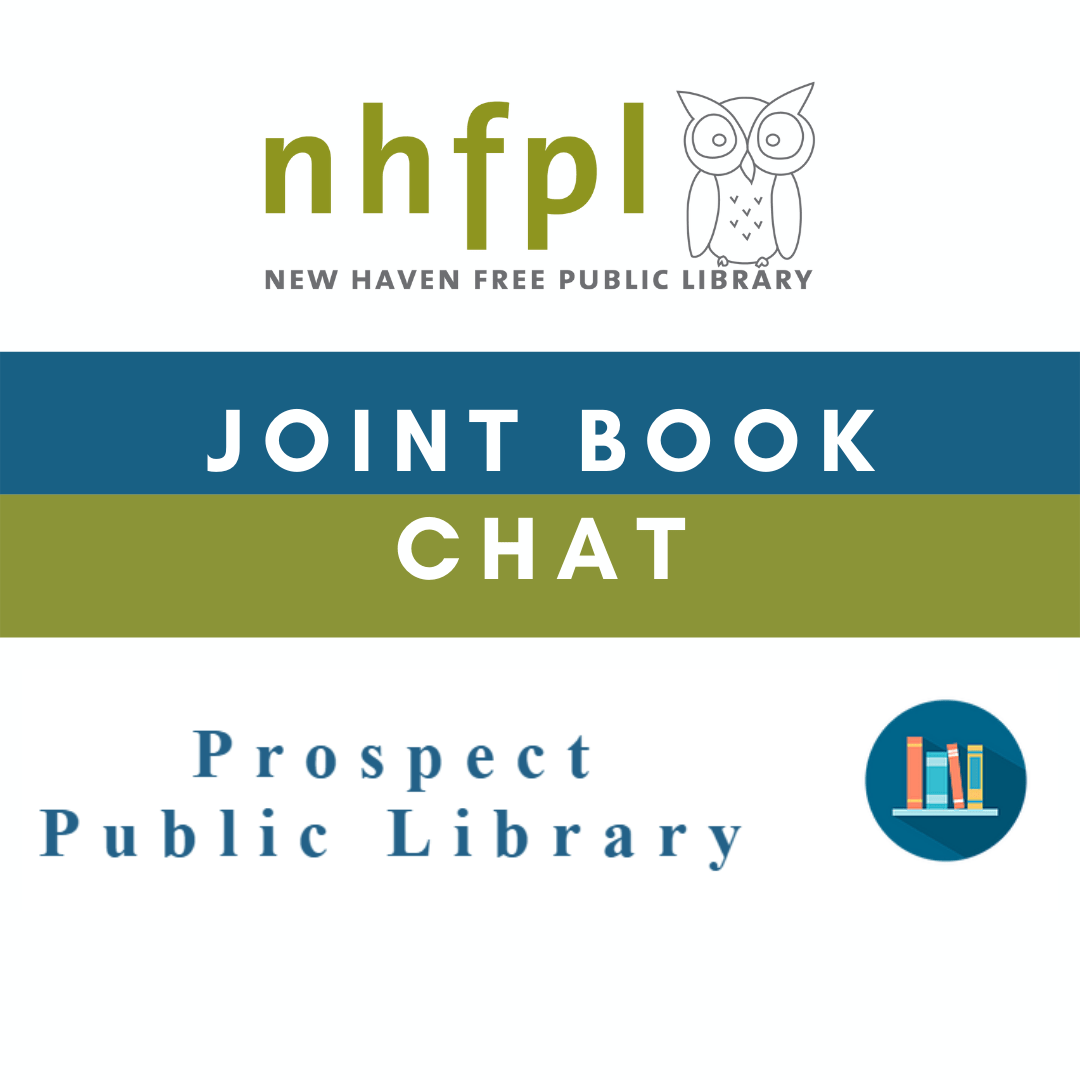 Graphic of nhfpl logo and prospect public library logos to feature their joint book chat