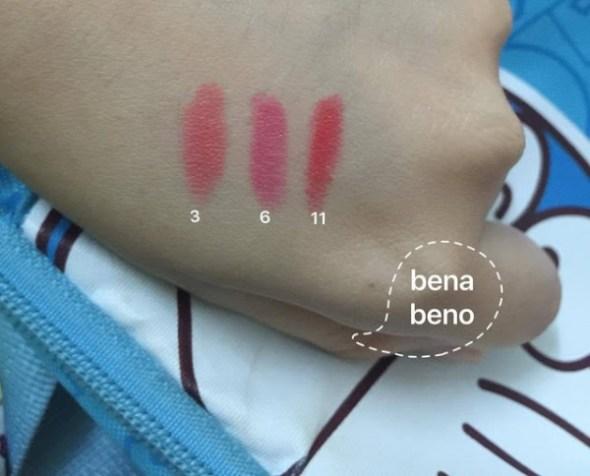 Swatch lên tay ^^ Hot Girl Lip Stick màu 3 6 11