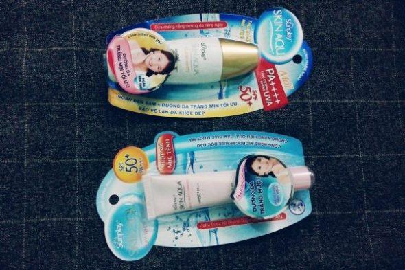 kem chống nắng Sunplay :Skin Aqua Clear White và Skin Aqua Silky White Essense