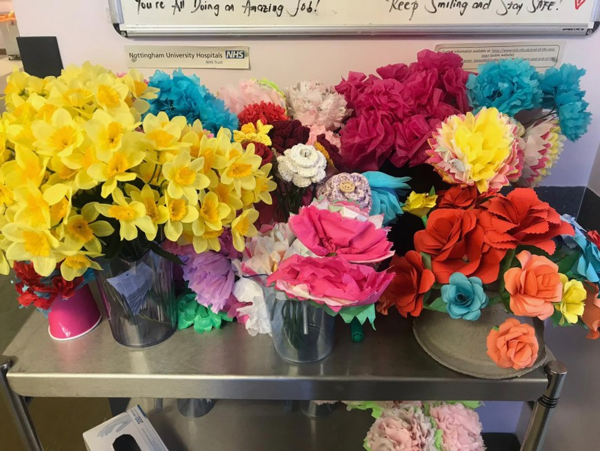 Bunches of paper flowers
