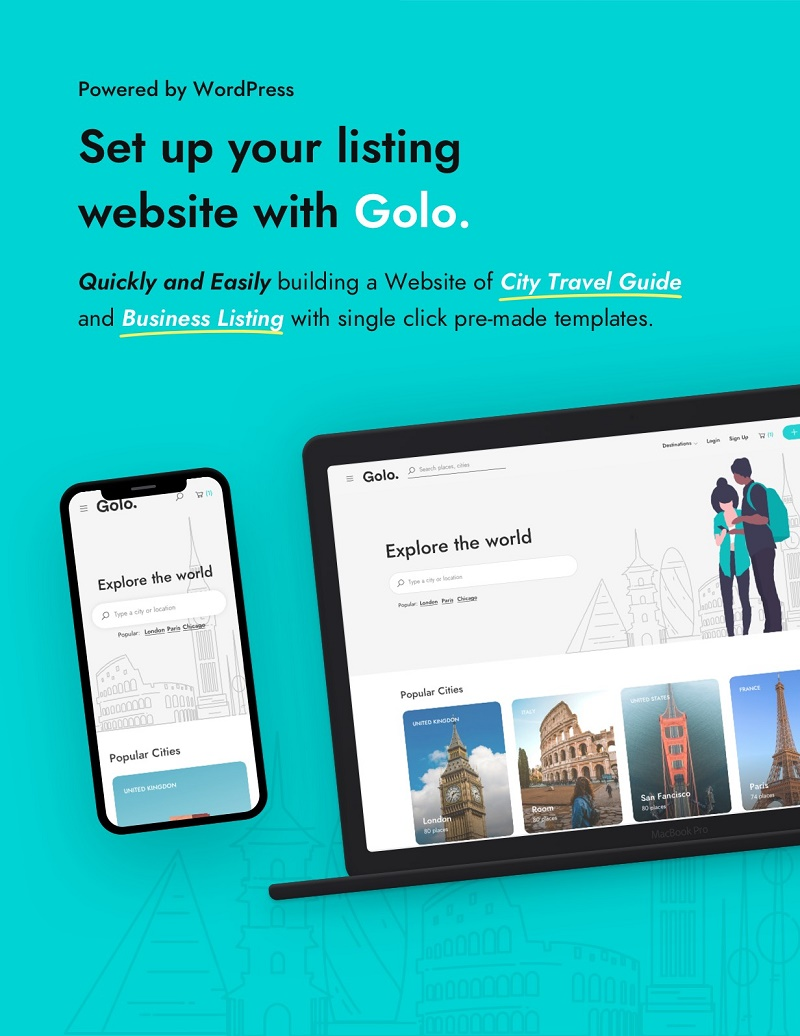 Golo - Directory & Listing, Travel WordPress Theme start