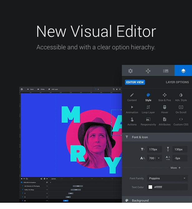 Slider Revolution Responsive WordPress slider Plugin visual editor