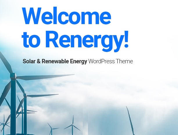 Renergy - Solar and Renewable Energy WordPress Theme welcome