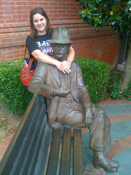 Margaret with Wild Bill in the Oxford town square