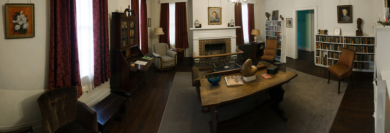 Faulkner hand-built the bookcases in this room so they would better store shotgun shells
