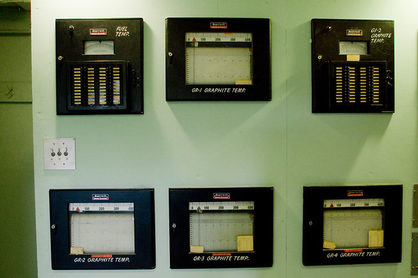 Control panels in the Graphite Reactors control room. Note the pre-digital readout mechanism: outputs were written on paper that scrolled through the machine, not displayed as alterable numbers and letters.