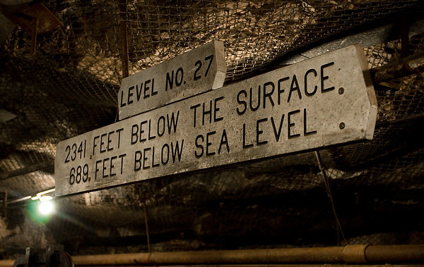 This sign greets visitors upon reaching level 27 of the mine. Needless to say, the tour is not for the claustrophobic.