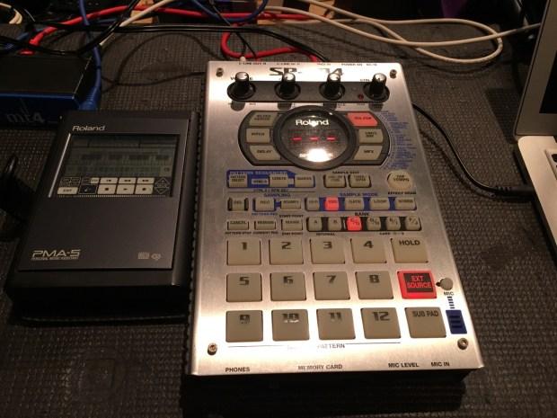 Roland PMA-5 and SP-404
