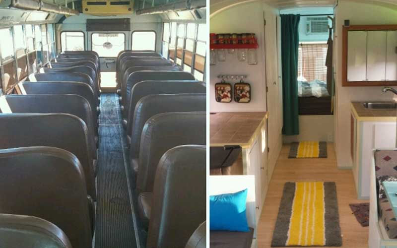 Guy converts old school bus into a home (albeit a small home)