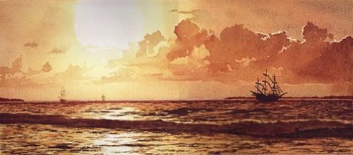 """Pirate Gold"" watercolor by NIA artist Dan Slattery"
