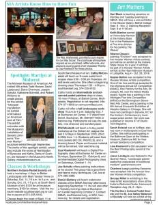 Northern Indiana Artists September 2017 newsletter