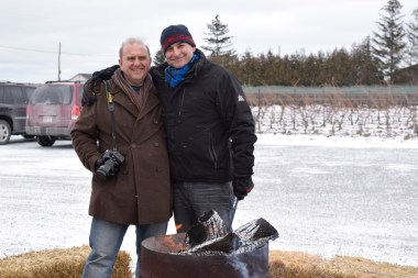 Roasting chestnuts at Pondview Winery with owner Lou Pugliesi