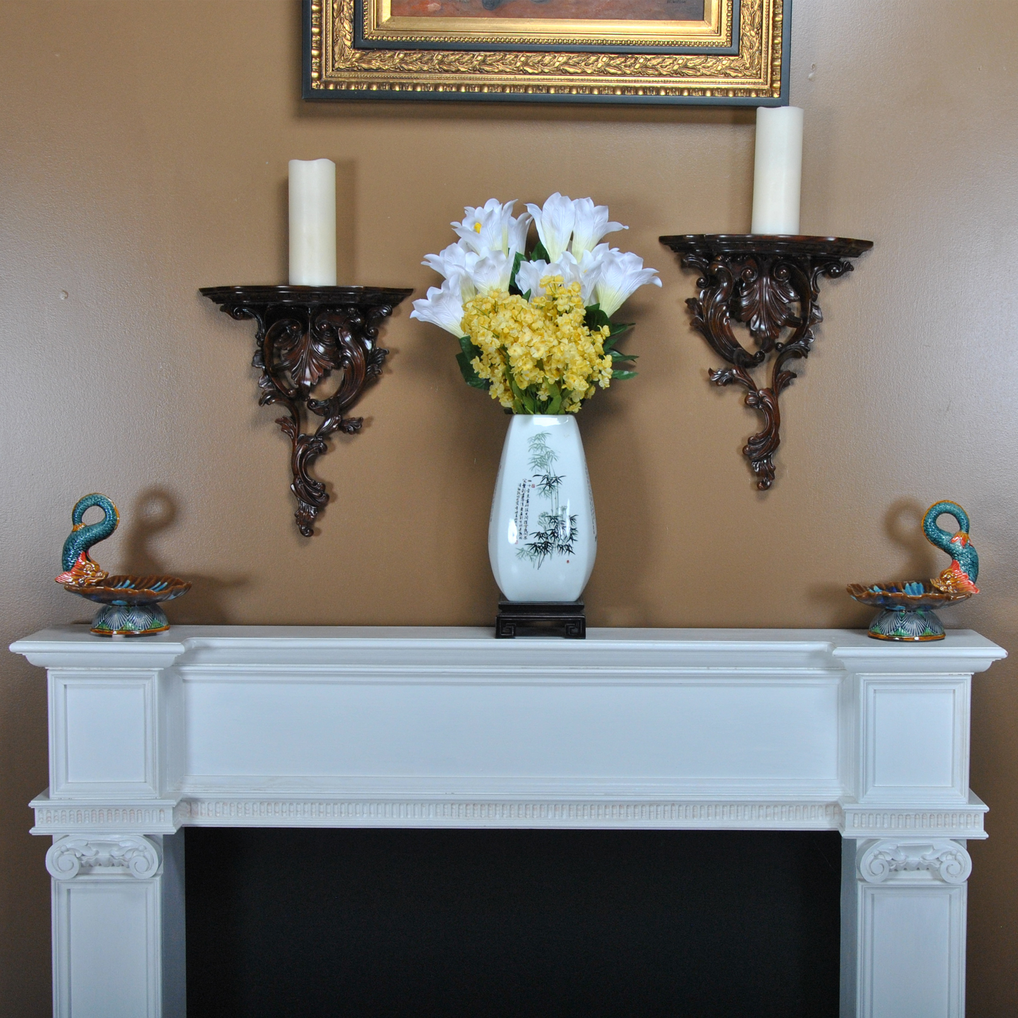 Pair of Carved Wooden Wall Sconces on Wood Wall Sconces id=98279