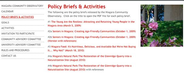 NIAGARA COMMUNITY OBSERVATORY POLICY BRIEFS