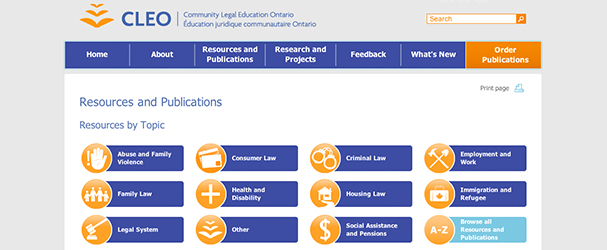 COMMUNITY LEGAL EDUCATION ONTARIO (CLEO) RESOURCES AND PUBLICATIONS
