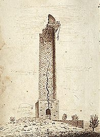 S.E. View of Brock's Monument on Queenston Heights as it appeared May 9, A.D.1841