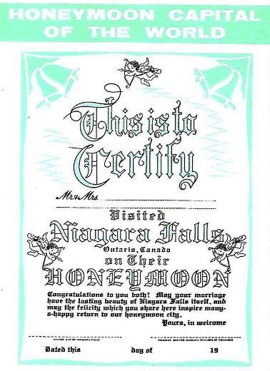 Certificate showing a couple honeymooned in Niagara Falls