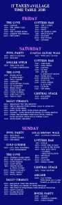 , Here's the timetable and map for It Takes A Village Festival in Trabolgan