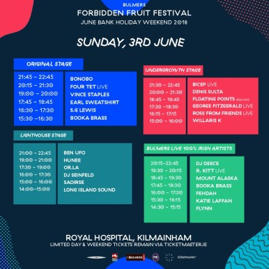 , Forbidden Fruit stage times & night parties are here