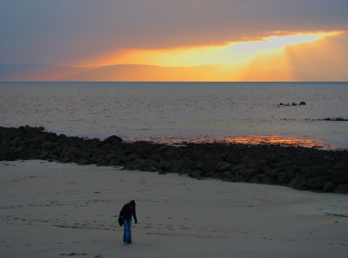 """""""The end of the day over Galway Bay"""" - Winter twilight at Salthill Beach, County Galway, Connemara, Ireland"""